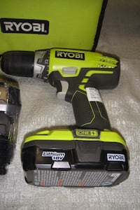 RYOBI 18 VOLT LITHIUM ION DRILL WITH TWO BATTERIES AND CHARGER  9189-11