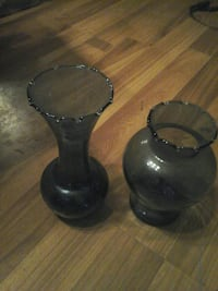 Two blue glass vases