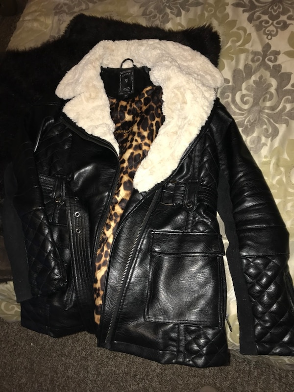 Guess Leather Jacket Size M
