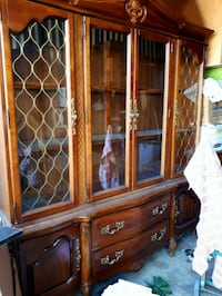 French Provincial Style China Cabinet and Hutch