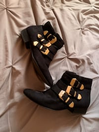 Black booties with gold buckles  Toronto, M2R