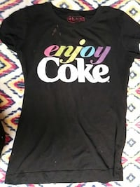 black, white, and pink crew-neck shirt with Enjoy Coke print Las Vegas, 89106