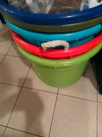 Five colored 18 gallon storage tubs with.handles South Amboy, 08879