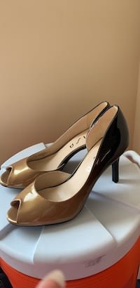 pair of brown leather peep toe platform stilettos Alexandria, 22306