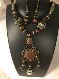 medium length wood finish necklace and earrings Aldie, 20105