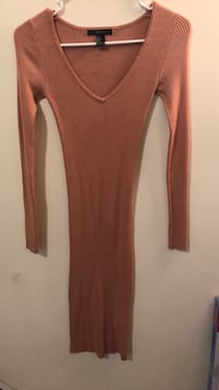 Brown scoop-neck long-sleeved dress Orange, 07050