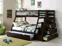 Espresso Twin over Full Staircase Bunk Bed with Trundle   Happy Homes  Houston, 77036