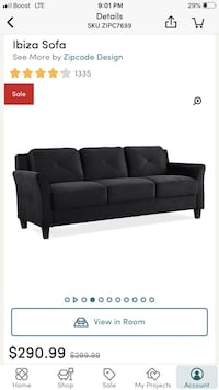black fabric 3-seat sofa screenshot Omaha, 68114