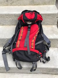 black and red The North Face backpack