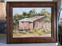 brown wooden framed painting of house near river Lubbock, 79423