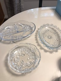 3 Floral Glass serving trays