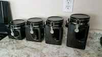 four black ceramic canisters with lids San Antonio, 78249
