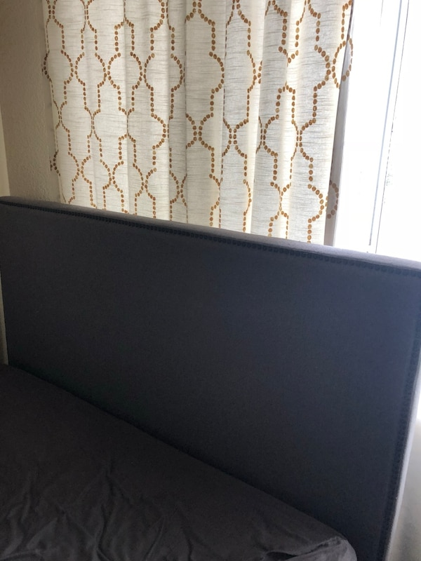 Must go today! West Elm Queen Gray Upholstered Nailhead headboard - $40
