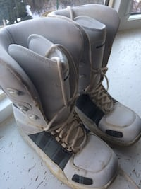 Pair of gray snowboard boots