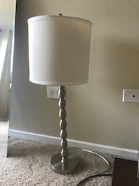 Silver Base Table Lamp with White Shade