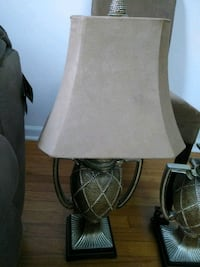 brown wooden base white shade table lamp Toms River, 08753