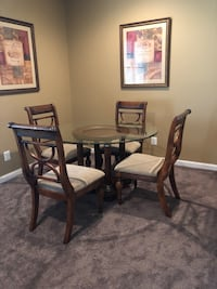 round glass top table with four chairs dining set Haymarket, 20169