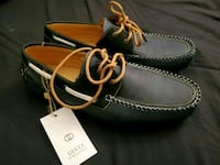 Blue leather lace-up shoes gucci style