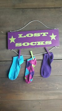 Lost socks hanging wood sign Crossville