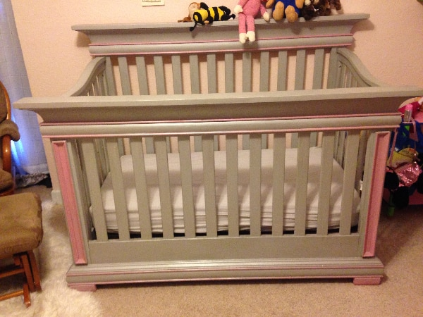 Munire convertible crib with matching doll crib hand painted with milk paint