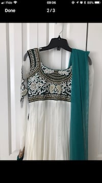 Indian outfit. White and green, 3 pieces. Not worn but altered to size small. Can be undo as well.  Vancouver, V5T 2A3