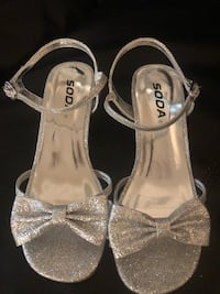 Pair of girls silver open-toe heeled sandals Moss Point, 39562