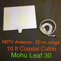 Mohu Leaf 30 HDTV Antenna w/ 30 mile range + 16 ft coaxial cable Norman, 73069