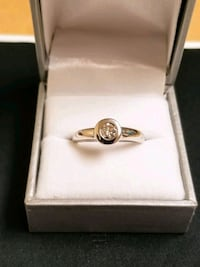 .40 carat bezel set 14k White gold solitaire ring