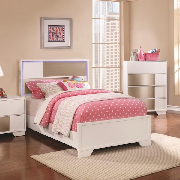 New! Contemporary 4-Piece TWIN Bedroom Set with LED lights (NO CREDIT CHECK  FINANCING)