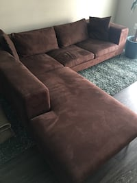 brown suede sectional sofa with throw pillows Washington, 20024