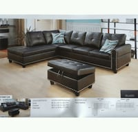 Black Sectional with Storaged ottoman- Nail Head  Hayward