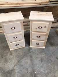 Two three drawer small cabinet unfinished handmade Lake, 18436
