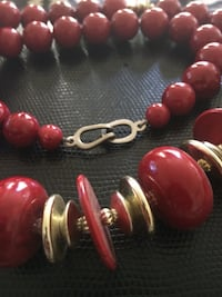 Red/ Gold beaded necklace