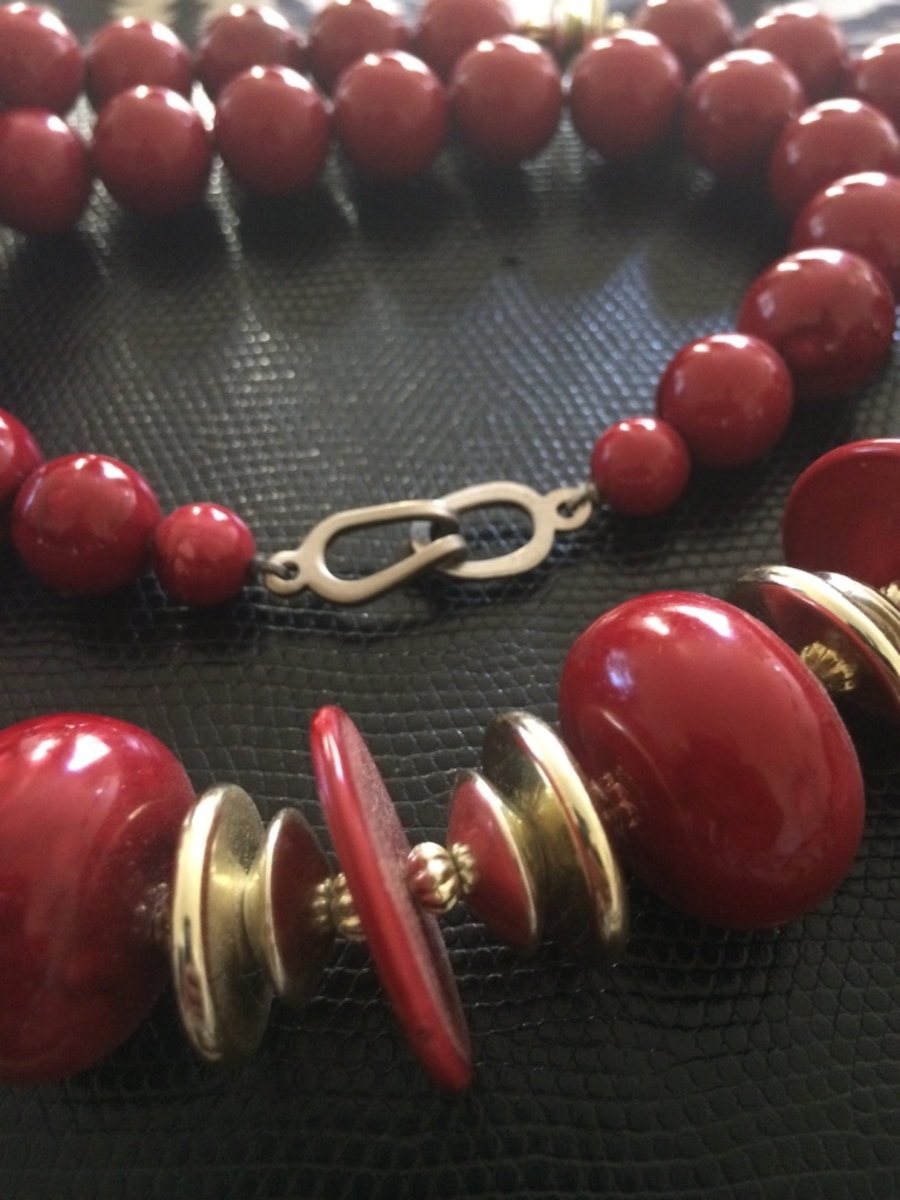 Red/ Gold beaded necklace  - CA