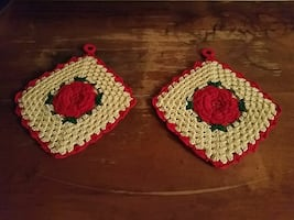 Vintage hanging doilies with roses