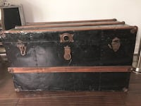 Antique Steamer Trunk Black Metal Wood Strapping Markham, L3P 3L9