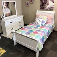 Twin bed frame with mattress and dressers and mirrors and nightstand  Houston, 77077