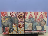 Two framed wood/canvas elephant pictures/wall art Milford, 03055