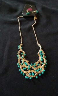 Blue and gold neaklace and earrings