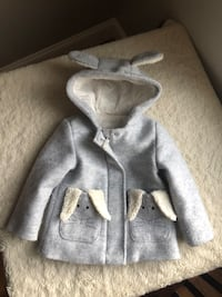 Cat & Jack Hooded Bunny Jacket Pea Coat Overcoat 2T 2 Toddler Girl Haverhill, 01832