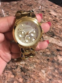 Round gold michael kors chronograph watch with link bracelet Rio Grande City, 78582