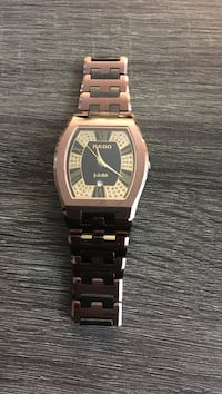square gold analog watch with link bracelet London