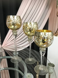 Brass and clear glass candle holder Selling the all pieces for event decor Mississauga