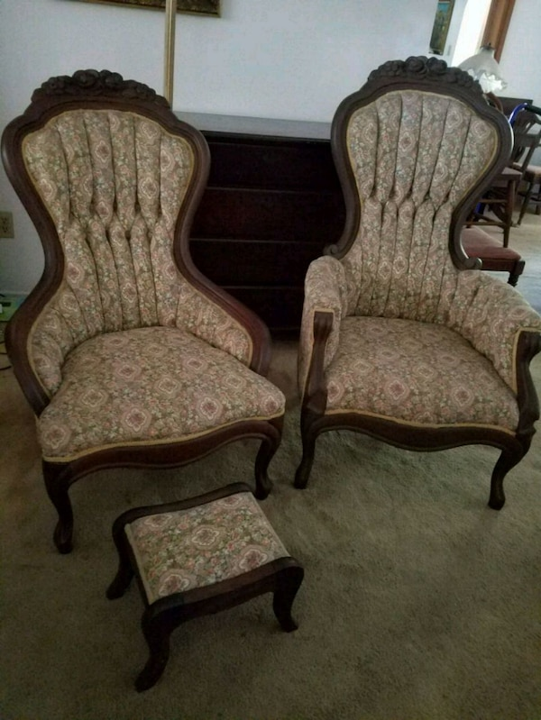 Used Victorian Style Chairs With Footstool For Sale In Merritt