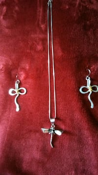 Dragonfly sterling silver pendant and earrings Langhorne