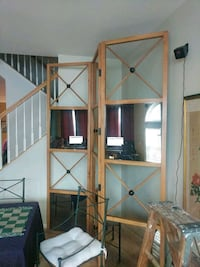Room divider smoked mirror and nautical wood work Lorton, 22079
