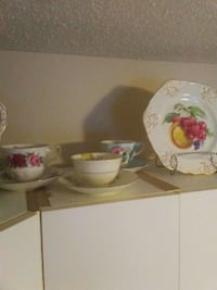 white and pink floral ceramic teacup with saucer Sherwood Park, T8A