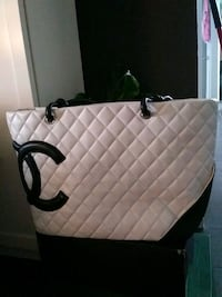 white and black leather tote bag Toronto, M8Y