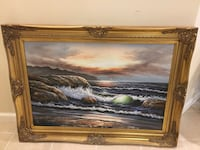 Brown wooden framed painting of ocean Fairfax, 22032