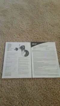 Acer Plug In Instructions and Warrenty booklet Woodbridge, 22193
